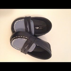 Jamie and jack blue leather loafer infant